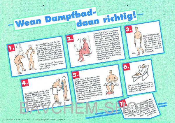 """DAMPFBAD-Aushangtafel A3 """"Dampfbad dann richtig"""""""