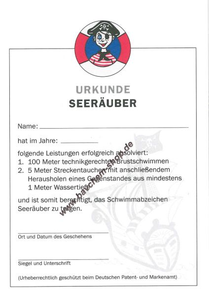 Seeräuber Urkunde Frühschwimmerurkunde