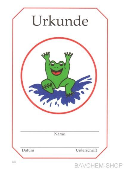 Frosch Urkunde Frühschwimmerurkunde