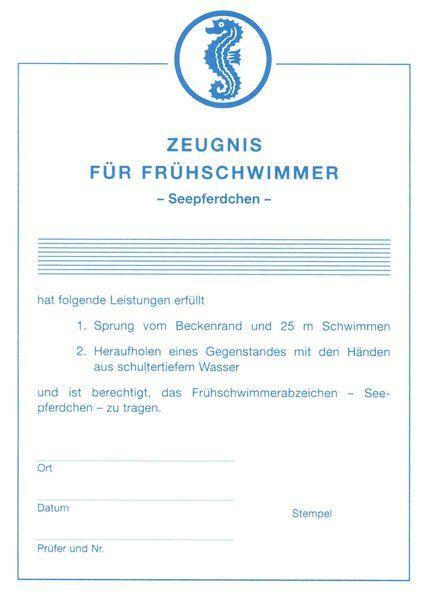 Frühschwimmer-Urkunde, Seepferdchenurkunde